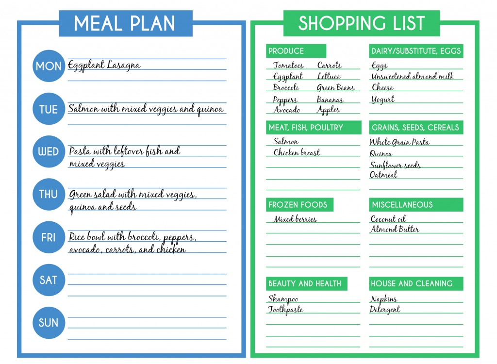 monthly meal planner template with grocery list - hep c diet plans cocogala