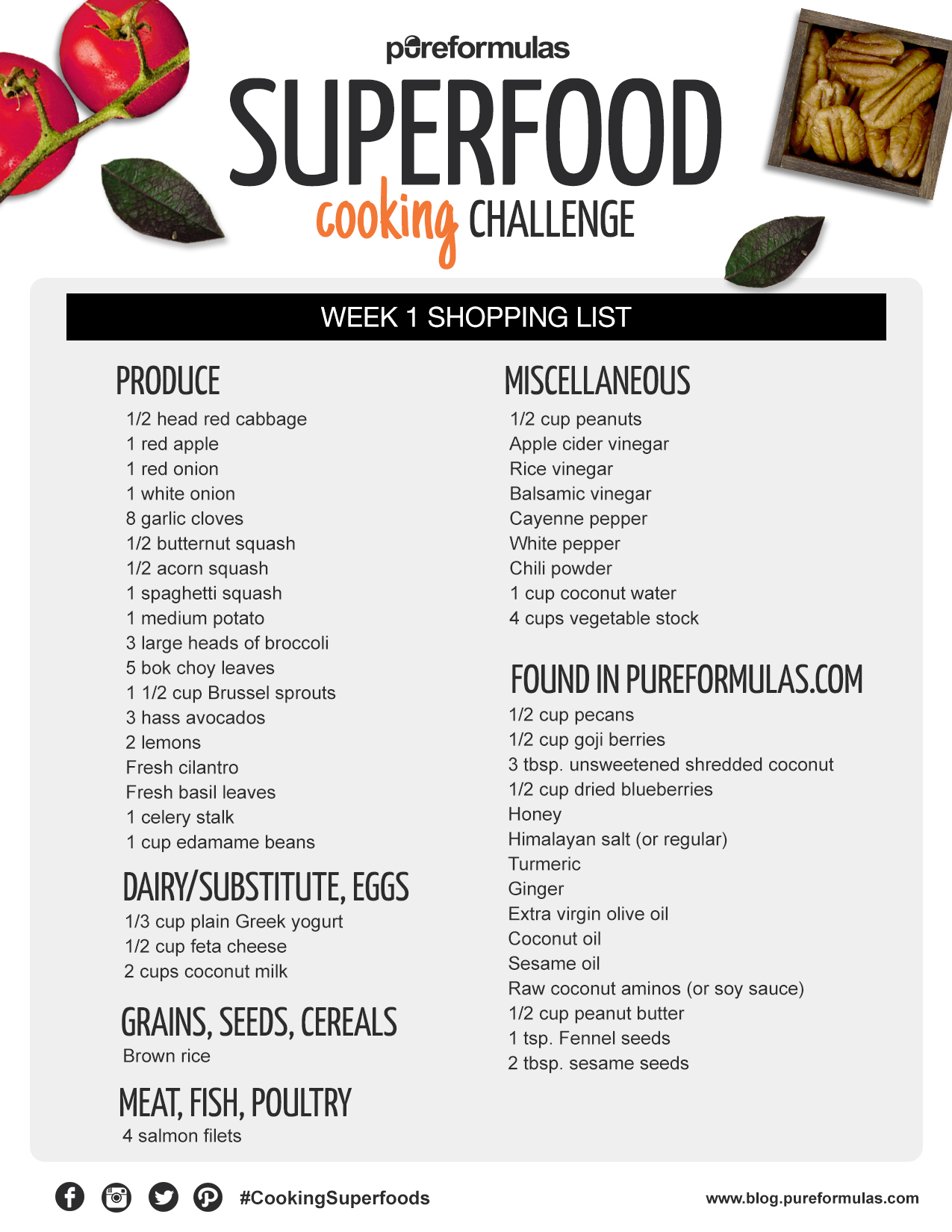 superfood cooking challenge: week 1 shopping list | pureformulas